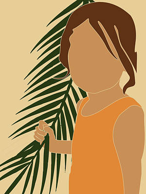 Royalty-Free and Rights-Managed Images - Tropical Reverie - Modern Minimal Illustration 13 - Girl, Palm Leaves - Tropical Aesthetic - Brown by Studio Grafiikka