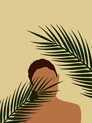 Royalty-Free and Rights-Managed Images - Tropical Reverie - Modern Minimal Illustration 14 - Girl, Palm Leaves - Tropical Aesthetic - Brown by Studio Grafiikka