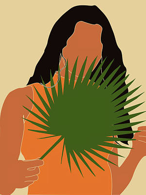 Royalty-Free and Rights-Managed Images - Tropical Reverie - Modern Minimal Illustration 15 - Girl, Palm Leaves - Tropical Aesthetic - Brown by Studio Grafiikka