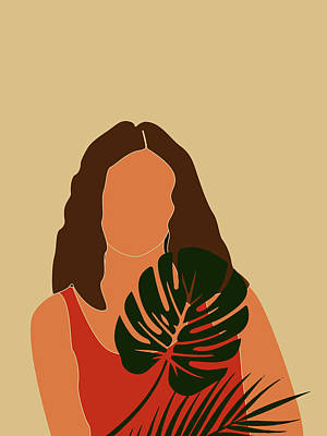 Royalty-Free and Rights-Managed Images - Tropical Reverie - Modern Minimal Illustration 16 - Girl, Monstera Leaf - Tropical Aesthetic - Brown by Studio Grafiikka