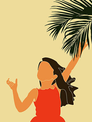 Royalty-Free and Rights-Managed Images - Tropical Reverie - Modern Minimal Illustration 18 - Little Girl, Palm Leaf - Tropical Aesthetic by Studio Grafiikka