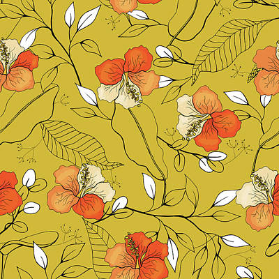 Royalty-Free and Rights-Managed Images - Tropical seamless flower and leaves pattern by Julien
