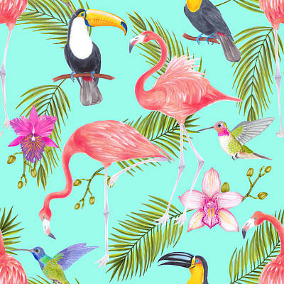 Royalty-Free and Rights-Managed Images - Tropical watercolor birds seamless pattern by Julien