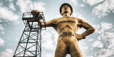Target Threshold Watercolor - Tulsa Golden Driller In the Sky Panorama by Gregory Ballos