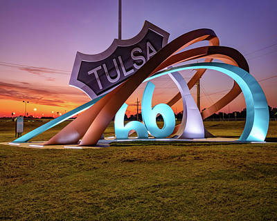 The Champagne Collection - Tulsas Route 66 Rising at Dawn by Gregory Ballos