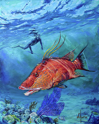 Sports Paintings - Tuppens Hogfish by Tom Dauria