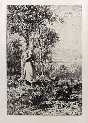 Drawing - Turkey Keeper by Charles-Emile Jacque