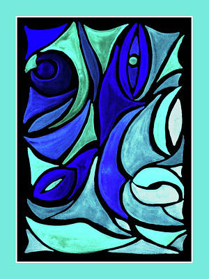 Royalty-Free and Rights-Managed Images - Turquoise And Blue Organic Abstract Stained Glass  by Irina Sztukowski