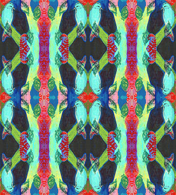 Royalty-Free and Rights-Managed Images - Turquoise Bird Pattern by Jennifer Lommers