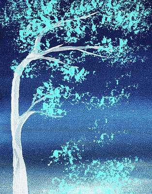 Bringing The Outdoors In - Turquoise Breeze Blue Wind Abstract Tree Nature Decorative Art by Irina Sztukowski
