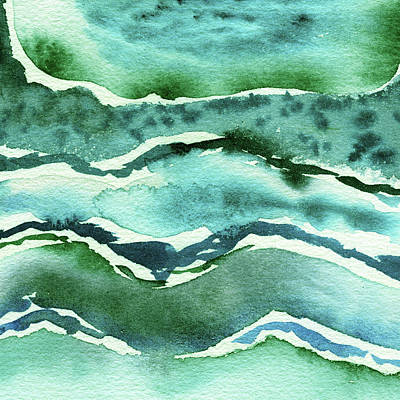 Royalty-Free and Rights-Managed Images - Turquoise Green And Blue Waves Organic Abstract Watercolor  by Irina Sztukowski