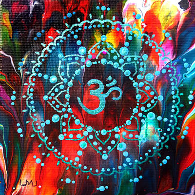 Painting - Turquoise Om Mandala by Laura Iverson