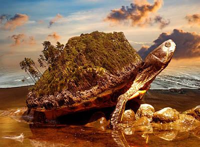 Surrealism Digital Art - Turtle By The Beach Surrealism by Barroa Artworks