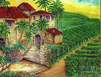 Modern Feathers Art - Tuscany Winery and Vineyard by Michael Silbaugh