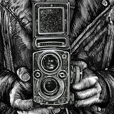 Drawing - Twin Lens Square by Doug LaRue