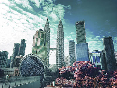 Surrealism Royalty-Free and Rights-Managed Images - Twin Towers in Kuala Lumpur - Surreal Art by Ahmet Asar by Celestial Images
