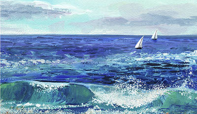Royalty-Free and Rights-Managed Images - Two Boats In The Ocean Sea Waves Breeze  by Irina Sztukowski