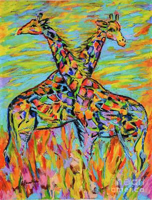 Pastel - Two Colorful Giraffes  by Olga Hamilton