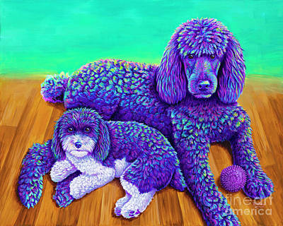 Painting - Two Colorful Poodles by Rebecca Wang