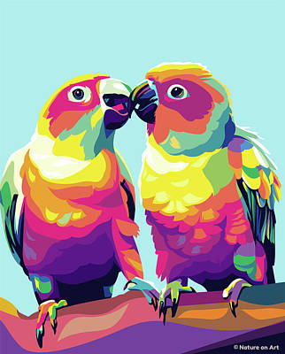 Royalty-Free and Rights-Managed Images - Two Conures by Stars on Art