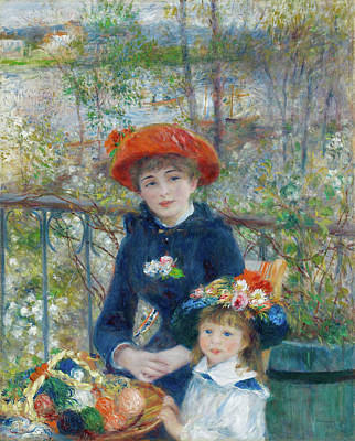 David Bowie Royalty Free Images - Two Sisters On the Terrace by Pierre Auguste Renoir oil on canvas 1881 Royalty-Free Image by Arpina Shop