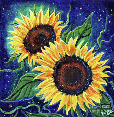 Painting - Two Sunflowers in the night by Renee Lavoie