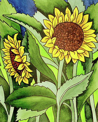 Royalty-Free and Rights-Managed Images - Two Sunflowers Under The Tuscan Sun  by Irina Sztukowski