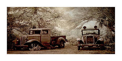 Pop Art Rights Managed Images - Two Vintage Vehicles Royalty-Free Image by Christine Hauber