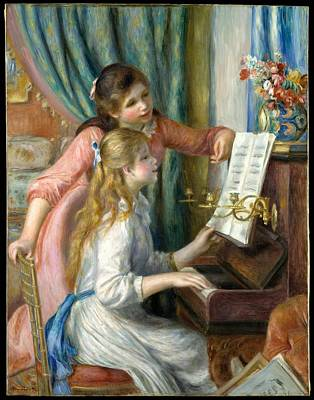 David Bowie Royalty Free Images - Two Young Girls at the Piano  Auguste Renoir French Limoges 1841 1919 Cagnes sur Mer Royalty-Free Image by Arpina Shop