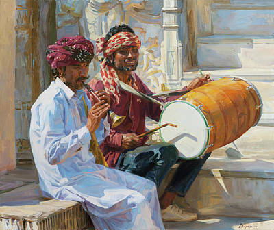 Painting - Udaipur music by Victoria Kharchenko