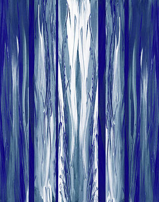Royalty-Free and Rights-Managed Images - Ultramarine Blue Waterfall Abstract Painting Decor by Irina Sztukowski