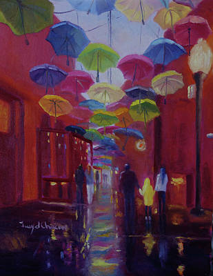 Painting - Umbrella Alley After The Rain by Terry Chacon