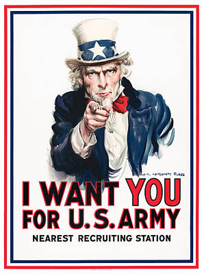 Pop Art - Uncle Sam - I Want You - James Montgomery Flagg - 1917 by War Is Hell Store