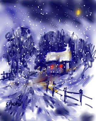Painting - Under the Winter Moon by Glenn Marshall