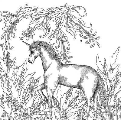 Animals Drawings - Unicorn by Jennifer Wheatley Wolf