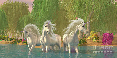 Fantasy Royalty-Free and Rights-Managed Images - Unicorns and Flowers by Corey Ford