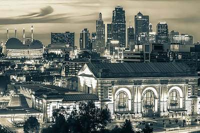 Basketball Patents Royalty Free Images - Union Station and Kansas City Skyline - Sepia Edition Royalty-Free Image by Gregory Ballos
