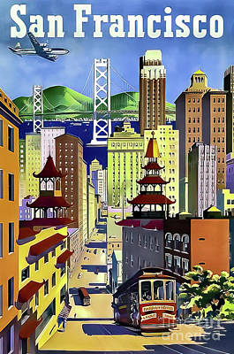Drawings Royalty Free Images - United Airlines San Francisco Travel Poster 1952 Royalty-Free Image by United Airlines