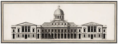 Drawings Royalty Free Images - United States Capitol Architectural Drawing - 1791 Royalty-Free Image by War Is Hell Store