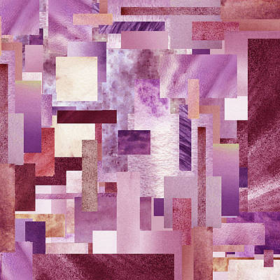 Royalty-Free and Rights-Managed Images - Urban Pink Purple Blocks Watercolor Collage Modern Interior Decor by Irina Sztukowski