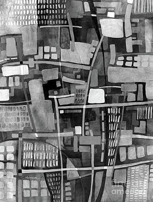 Abstract Oil Paintings Color Pattern And Texture - UrbanScape in Black and White by Hailey E Herrera