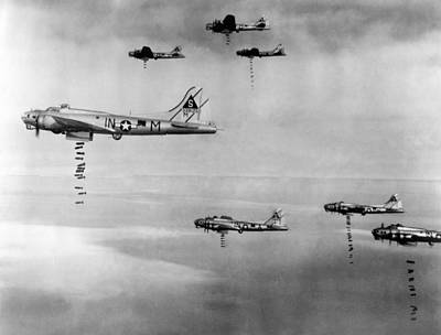 Royalty-Free and Rights-Managed Images - US Army Air Corps Planes Dropping Bombs - Germany - 1945 by War Is Hell Store