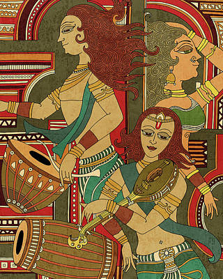 Royalty-Free and Rights-Managed Images - Utsav 2 - Traditional Indian art depicting Celebration and festivity - Mural Painting - Diptych by Studio Grafiikka