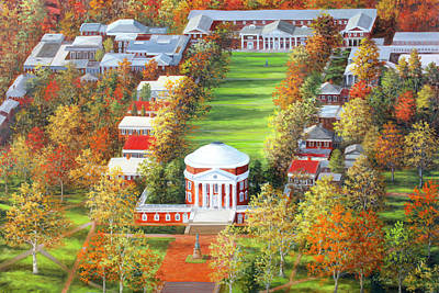 Painting - UVA Rotunda and Lawn by Guy Crittenden