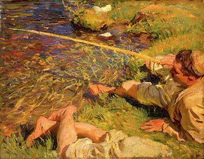 David Bowie Royalty Free Images - Val Daosta A Man Fishing by John Singer Sargent Royalty-Free Image by Arpina Shop