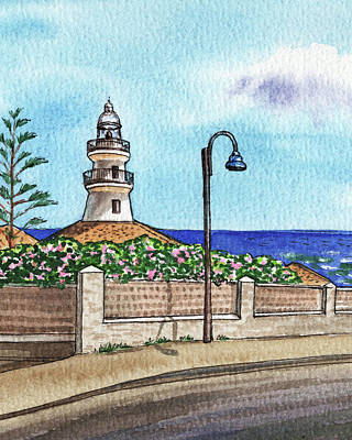Celebrity Watercolors - Valencia Spain Lighthouse Faro De Cullera Watercolor  by Irina Sztukowski