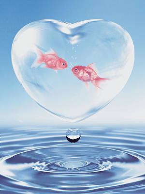 Surrealism Digital Art - Valentines fish conversation by Mihaela Pater
