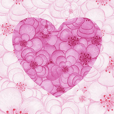 Royalty-Free and Rights-Managed Images - Valentines Flowers Watercolor Heart by Irina Sztukowski