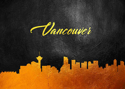 Winter Animals - Vancouver Canada Gold Skyline by AB Concepts