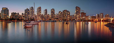 Typographic World Rights Managed Images - Vancouver Skyline at Dusk Panoramic Royalty-Free Image by Adam Romanowicz